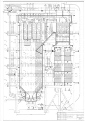 2.Чертеж вида общего котлоагрегата БКЗ 420-140-6С в продольном разрезе, в масштабе 1:50, с указанием всех размеров (формат А4)