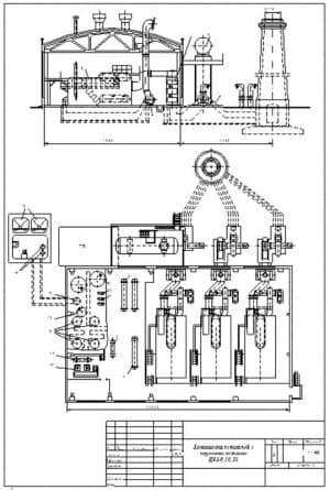 2.Чертеж компоновки котельной с котлами паровыми ДКВР-10-23, в масштабе 1:150, с указанием всех размеров (формат А4)