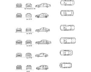 24.Общего вида чертеж вариаций моделей автомобилей легковых Audi: А6 Quatro 4.2'99, S3'99, A4'99, A8'99, TT'99, A2, в различных проекциях – виды спереди, сзади, сбоку и сверху (формат А1)