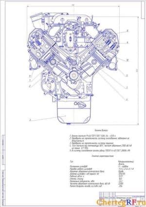 Сборочный чертеж поперечного разреза ДВС ЯМЗ-238 с указанием габаритных размеров, техническими характеристиками и техническими указаниями ( формат А1)