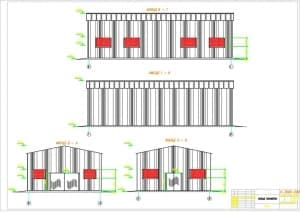 2.Чертеж фасадов А-Б и Б-А, 6-1 и 1-6 в масштабах 1:50 и 1:100, с указанными отметками (формат А1)