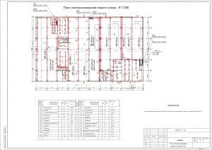 2.Чертеж плана электроосвещения первого этажа в масштабе 1:200