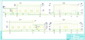 2.Чертеж фасадов 1-8, 8-1, А-Д, Д-А с указанными отметками (формат А3*3)
