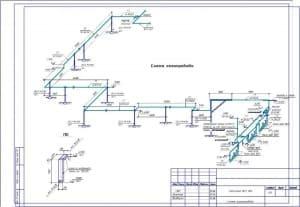 2.Чертеж схемы газопровода топочной №3 и №4