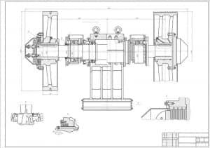 2.Чертеж сборочный дробилки щековой СМД-60А с габаритными размерами (формат А1)