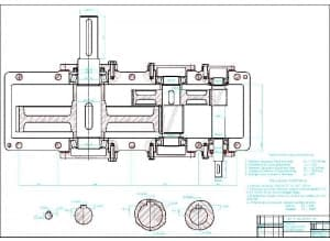 2.Сборочный чертеж редуктора двухступенчатого цилиндрического в масштабе 1:1