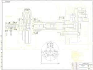 Сборочный чертеж трехкулачного рычажного патрона с техническими характеристиками: патрон; 3-х кулачковый самоцентрирующейся с креплением через переходной фланец ГОСТ 3889-71: наружный диаметр патрона – 315 мм; диаметр крепления заготовок – 50..100 мм; наи