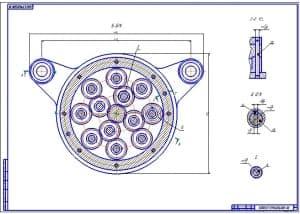 2.Чертеж головки многошпиндельной для сверления восьми отверстий: разрезов Б-Б, Г-Г, видов Д, Е (формат А1)
