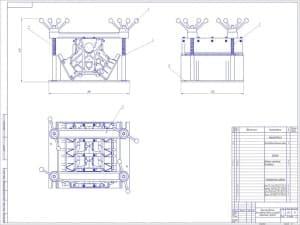 Сборочный чертеж приспособления для ремонта блока цилиндров. Чертеж представлен в трех разных проекциях. На чертеже отмечены размеры и номера деталей: 1. Рукоятка 7061-0146 ГОСТ 14741-69 – 4; 2. Штанга нажимная – 2; 3. Пружина 4310-5003031 ГОСТ 13764-86 –