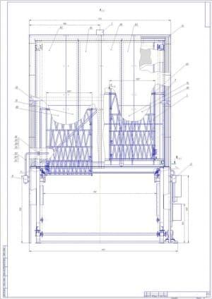 2.Чертеж сборочный печи полимеризации с основными параметрами конструкции (формат А1)