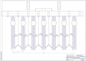 2.Чертеж схемы расстановки рабочих органов с указанными размерами   (формат А1)