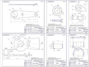 2.Деталировка ключа: пластина поворотная, сектор в сборе, звездочка, собачка, втулка, вал (сформированы на формат А1)