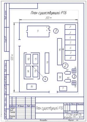 2.План существующей ремонтно-технологической базы (формат А4)  500х300 метров