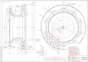 2.Деталь диск тормоза (формат А1) с техническими требованиями