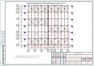 28.Чертеж схемы расположения элементов каркаса в осях 3-10 и А-К
