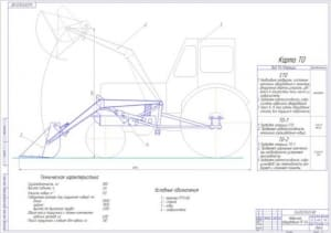 2.Чертеж общего вида навесного оборудования для уборки навоза ПГ-0,4 на базе трактора МТЗ-80 (формат А1)
