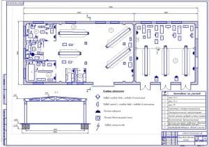 2.Чертеж планировочного решения производственного корпуса на формате А1.