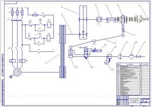 2.Кинематическая схема стенда (формат А1) с перечнем элементов
