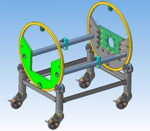 2.Модель стенда в 3D для ремонтно-диагностических работ с двигателями внутреннего сгорания с расширенными функциональными возможностями применительно к различным типам двигателей внутреннего сгорания
