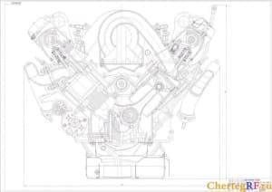 Поперечный разрез двигателя бензинового с габаритными размерами (формат А0 )