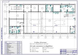 2.Планировка существующей ремонтной мастерской (формат А1)