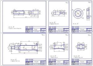 2.Рабочие чертежи деталей: опора, золотник, втулка, цанга (формат А1)