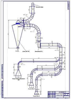 2.Монтажная схема аспирационной установка размольного отделения мукомольного завода (формат А1)