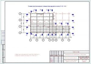 30.Чертеж схемы расположения элементов каркаса в осях 3-10 и К-Н