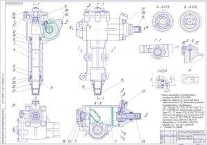 Сборочный чертеж рулевого механизма с техническими указаниями. На чертеже выполнены вынесенные разрезы и проставлены некоторые размеры. Обозначены позиции деталей и сборочных единиц (формат А1)