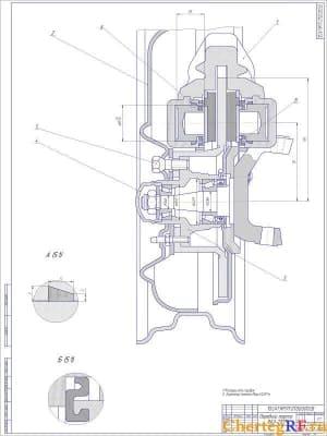 Чертеж сборочный переднего тормоза ВАЗ-2107 с техническими характеристиками: *размеры для справок; тормозной момент Мтр=61,2Н*м (формат А1)
