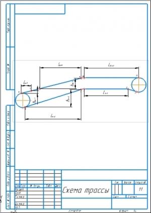3.Чертеж схемы трассы с обозначением длин и высот участков А4