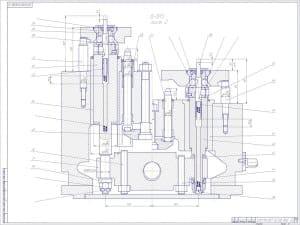 Сборочный чертеж спутника. Лист 2 Б-БО