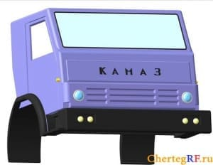 Чертежи автомобиля КАМАЗ в 3d проекциях