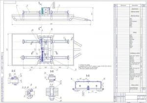 Чертеж основания установки для размотки и намотки  кабеля с указанием деталей и схемами креплений со спецификацией (формат А1)