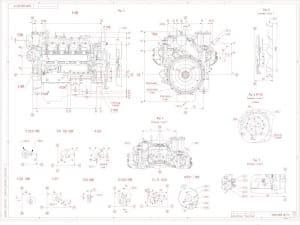 3.Габаритный чертеж двигателя 740.19-200 (лист 3). Начерчено на чертеже шестнадцать проекций: вид Б (4В), рис.5, рис. 6 (1:2), рис.4,
