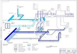 3.Чертеж схемы оперативной трубопроводов турбокомпрессорной установки К 250-61-1 компрессорной станции №2
