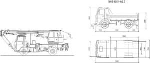 3.Общего вида чертеж автомобиля грузового МАЗ-5551 4*2.2 в различных планах – виды сбоку и сверху, с проставлением размерности (формат А1)