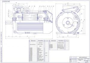 3.Чертеж СБ двигателя асинхронного с короткозамкнутым ротором в масштабе 1:1, со спецификацией (формат А1)