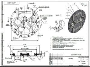 3.Чертеж СБ крышки массой 9.7, в масштабе 1:2.5, с указанными размерами для справок и с техническими требованиями: допуск отклонения центрального угла между осью базового отверстия р.8 и осями отв.р.13 +-0.05о