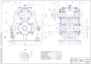 3.Чертеж СБ редуктора одноступенчатого цилиндрического с техническими характеристиками