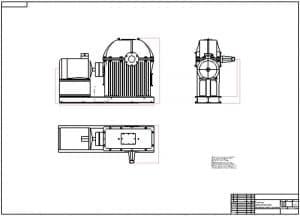 3.Чертеж общего вида редуктора двухступенчатого цилиндрическо-червячного в масштабе 1:5
