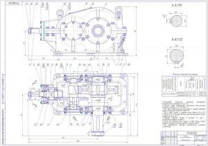 3.Сборочный чертеж редуктора коническо-цилиндрического в масштабе 1:2.5