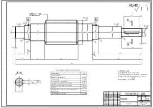 3.Деталировочный чертеж червяка в масштабе 1:1 (материал: Сталь 45) (формат А3)