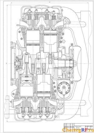 Продольного разреза двигателя чертеж Фольксваген с указанием габаритных размеров (формат А1)