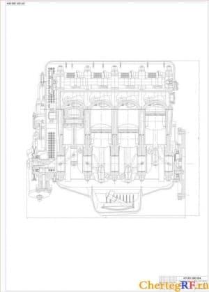 Двигателя, продольный разрез с указанием габаритных размеров (формат А1)