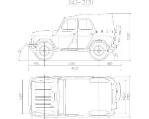33.Чертеж вида общего автомобиля легкового УАЗ-3151 в 2х проекциях – виды сбоку и сверху, с проставлением размерности (формат А1)