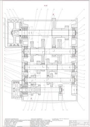 3.Сборочный чертеж развертки коробки скоростей в масштабе 1:1