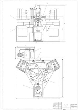 3.Общий вид станка в 2х проекциях – виды сбоку и спереди