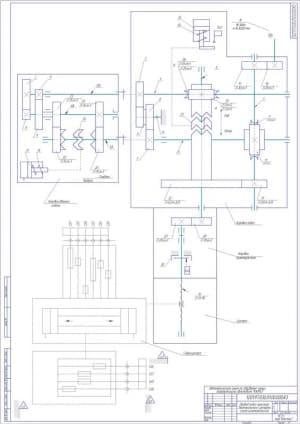 3.Чертеж общей кинематической схемы привода подач простого вертикального (формат А1)