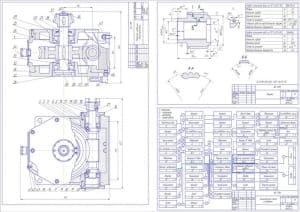 3.Чертежи: 1) сборочный редуктора червячного одноступенчатого с указанием размеров и позиций деталей, 2) рабочий чертеж детали втулки с техническими характеристиками: модуль – 3.5